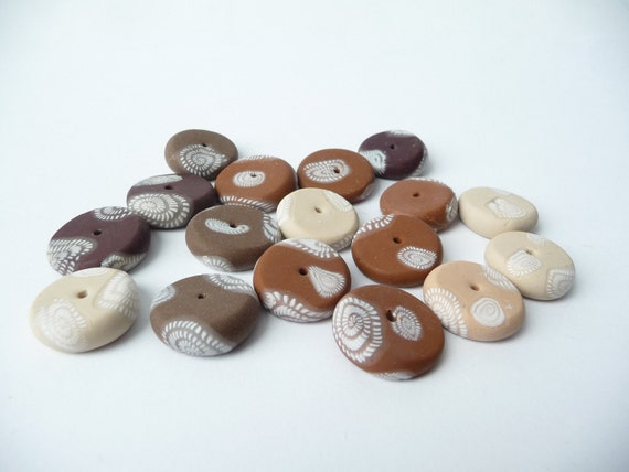 Brown Polymer Clay Beads Fimo Flat Round Spiral Tabs