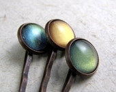 Rustic Gems Hairpin Set Antiqued Copper Green Pink Peach Olive Rose