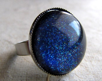 Starry Starry Night Ring in Silver Navy Blue Ring