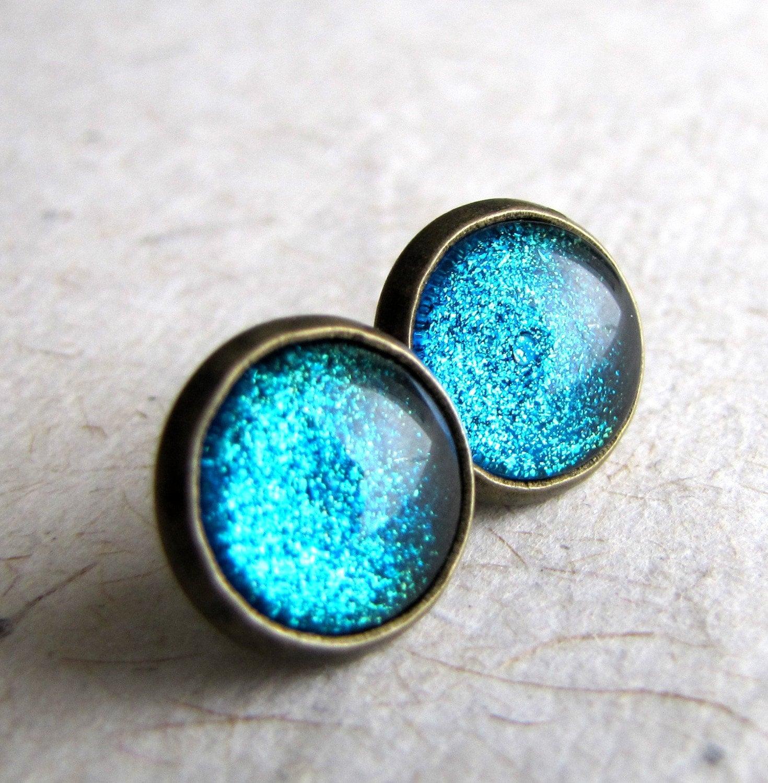 blue glitter earrings turquoise sparkle post by ashleyspatula