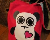 Panda Bear Messenger Tote Bag - red