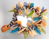 Beach Glass and Sea Shell Bracelet