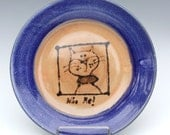 Pottery Plate Cheeky Cat Design