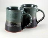 Pottery Mug Teal and Black