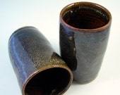 Reserved for Kristina/Two Black Stoneware Tumbler / Handmade Pottery Wheel Thrown Clay / Country Morning Series
