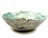 Large Aqua Stoneware Bowl / Handmade Ceramic Clay Pottery