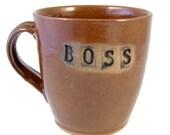 BOSS Mug / Handmade Wheelthrown Stoneware Clay Pottery - Ready to Ship