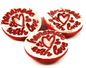 """Ceramic Buttons w Heart - Stamped """"Handmade With Love"""" - Porcelain Clay Pottery Valentine Buttons - Ships Today"""