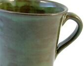 Olive Ceramic Coffee Mug / Handmade Wheelthrown Stoneware Pottery