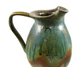 Large Copper Green Ceramic Pitcher - Jug - Over a Quart - Handmade Wheel Thrown Clay Pottery - Ships Today