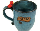Blue MOM Mug with Red Bird / Ready to Ship Today / Handmade Pottery Wheel Thrown Stoneware Clay / Ready to Ship