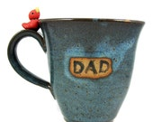 Huge DAD Ceramic Mug with Bird - Perfect for Father's Day - Ready to Ship / Handmade Pottery Wheel Thrown Stoneware Clay
