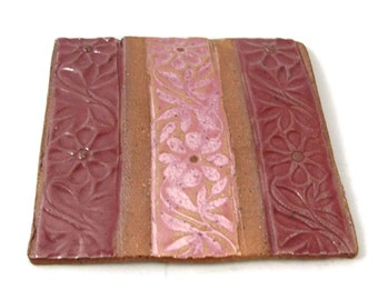 Ceramic Coaster or Tile - Pink and Marsala Purple - Handmade Stoneware Clay Tile - Ready to Ship