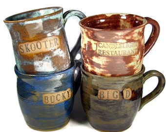 HUGE Beer Mugs / Steins - Custom and Personalized for You - Great Groomsmen Gifts - Handmade Stoneware Wheel Thrown Clay Pottery