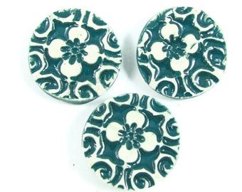 Ceramic Buttons - Handmade Porcelain Button - Three Blue Green Clay Pottery Buttons - Ready to Ship