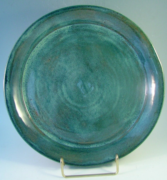 Blue Green Dinner Plate \/ Handmade Stoneware Clay Pottery