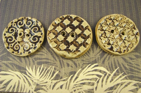 3 Textured Clay Buttons / Rustic Earth Tones - Handmade Stoneware Pottery
