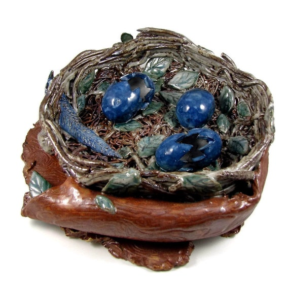 Art Clay Sculpted Bird Nest Ring: Bird Nest Sculpture / Handmade Stoneware Clay By PatsPottery
