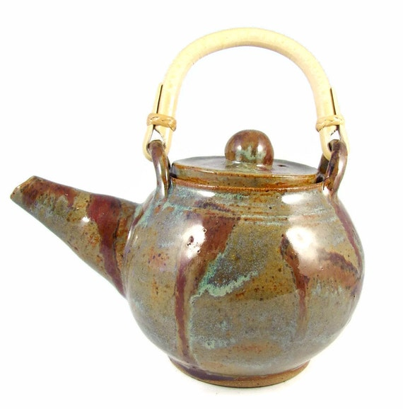 Ceramic Teapot with Cane Handle - Handmade Tea Pot - Stoneware Art Pottery - Wheel Thrown Clay Teapot - Ready to Ship