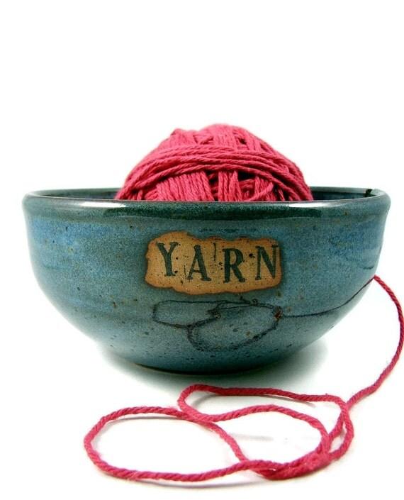 Blue Yarn Bowl / Handmade Pottery Wheel Thrown Stoneware