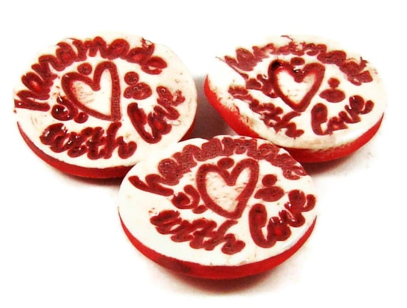 "Ceramic Buttons w Heart - Stamped ""Handmade With Love"" - Porcelain Clay Pottery Valentine Buttons - Ships Today"