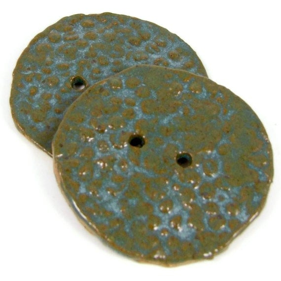 Handmade Clay Buttons - Handmade Stoneware Button - Blue Textured Ceramic Buttons - Sewing Supply - Ships Today