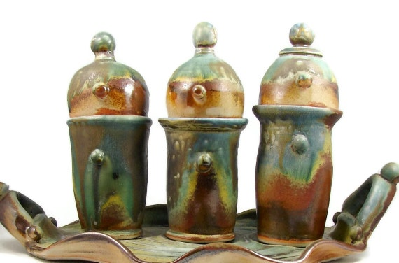 7 Piece Decorative Art Centerpiece - Ceramic Sculpture Art - Decorative Set of Vessels with Lids and Tray - Ships Today
