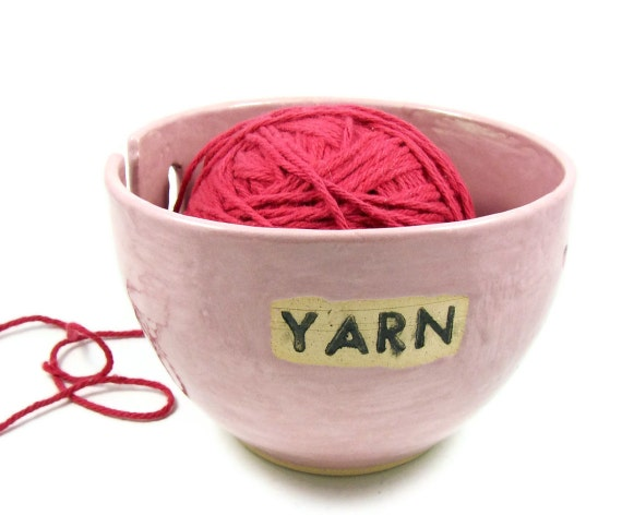 Handmade Yarn Bowl in Soft Pink - Great Gift - Stoneware Clay Pottery - Ready to Ship