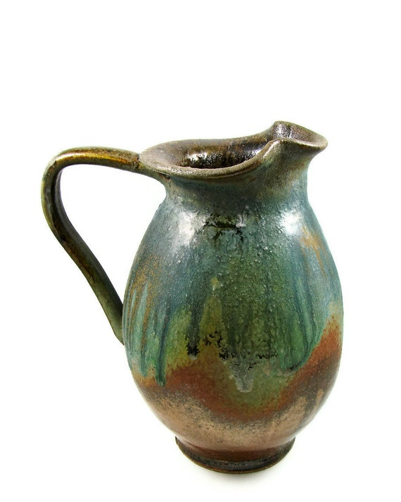Large Copper Green Ceramic Pitcher Jug Over A Quart