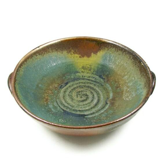 Large Ceramic Serving Bowl With Handles Wheel Thrown