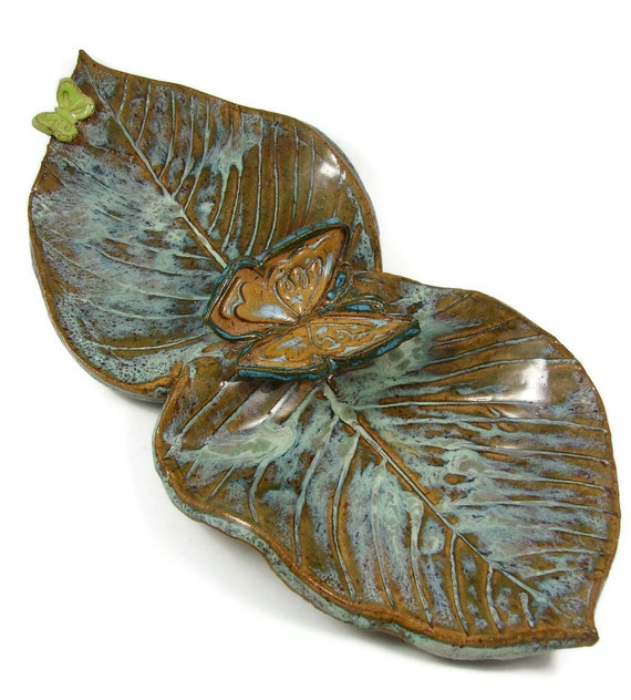 Emerald Green Ceramic Serving Dish - Butterfly Divided Platter - Ready to Ship Today - Handmade Stoneware Clay Pottery Plate