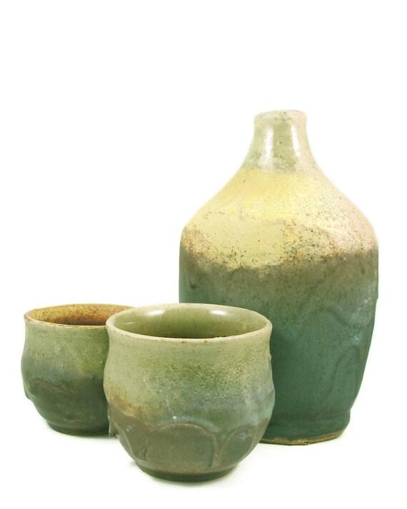 Whiskey Bottle and Shot Glass Set - Ceramic Barware - Handmade - Stoneware Flask - Pottery Shot Glass Set - Best Man Gift - Ships Today