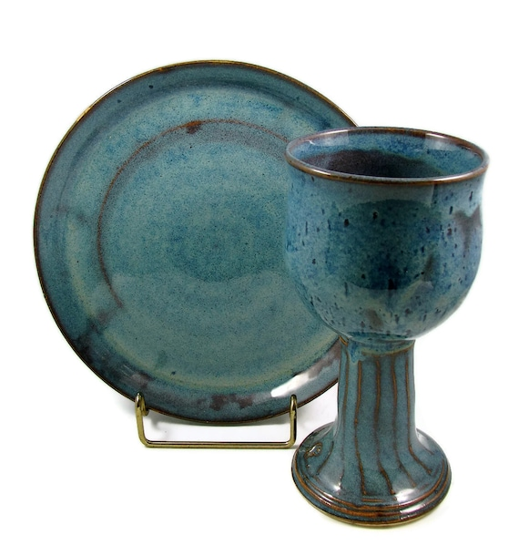 Will Ship Today - Ceramic Chalice and Paten Set - Wheel Thrown Stoneware Pottery for Ceremony Serving or Decoration.