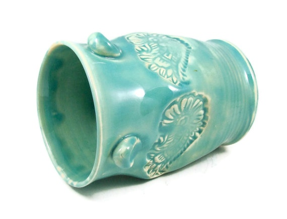 Classic Pale Green Turquoise Ceramic Vase - Handmade Art Vessel - Wheel Thrown Vase - Clay Pottery - Ships Today