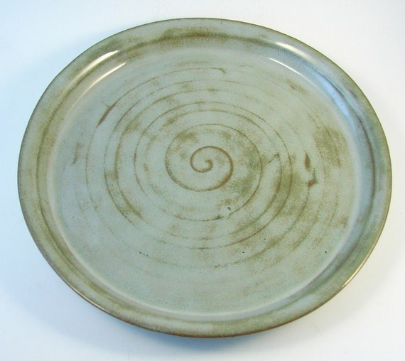 soft blue dinner plate handmade wheel thrown stoneware