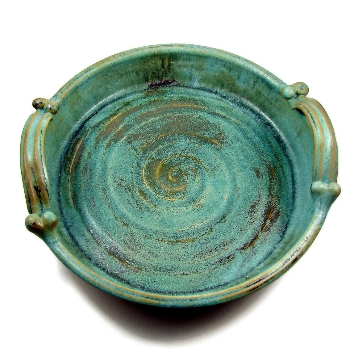 Large Bronze Stoneware Platter With Handles Ceramic Clay