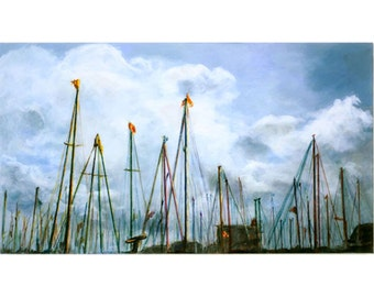 Port Vell Masts  (An Original Landscape Painting on Canvas)  18 x 32 inches