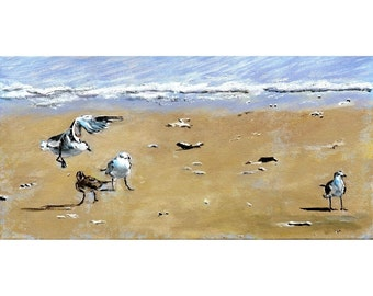 Birds On The Bearch I An Original Beach Painting 20 by 10 inches