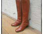 Vintage 70s 80s Brown Knee High Boots Size 7