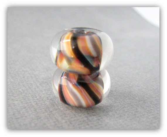 Earring Pair - Lampwork Beads - Boro Beads - Orange and Black Spiral