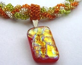 RESERVED FOR ROXYCURLER  Sweet Summer Fire, Choker with Dichroic Glass Pendant