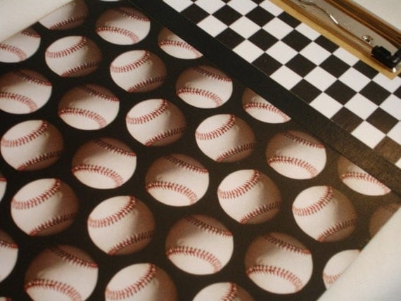 OOAK altered decorated clipboard PLAY BALL