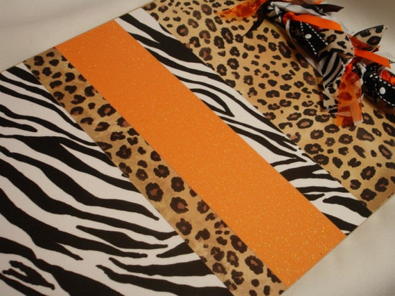 ANIMAL PRINT CLIPBOARD orange glitter