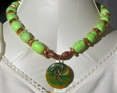 Super Chunky Large Green Turquoise, Copper and Agate Necklace Free US Shipping
