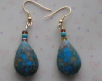 Mosaic Tears Turquoise Hued Earrings