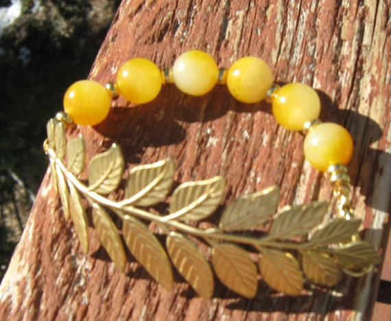 Citrine and Raw Brass Leaf Nature Bracelet-November Birthstone