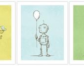 Cute Robot Art Prints - 13x19 - 3 pack