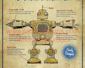 Retro Robot Art Print - 11x14