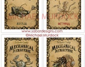 Steampunk creatures art prints 11x14- 4 pack