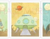 Cute yet awesome Robot, Rocket, and Alien ship 8.5x11 print - 3 pack.